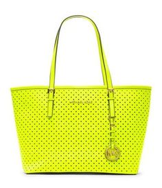 MICHAEL Michael Kors Small Jet Set Perforated Travel Tote Yellow