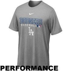 Nike L.A. Dodgers MLB Authentic Collection Team Issue Legend Performance T-Shirt - Ash