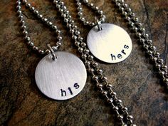 Hand Stamped Jewelry His and Hers Necklaces by CharmAccents, $30.00