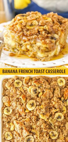 Overnight Baked Banana French Toast Casserole is an easy make ahead breakfast & is FULL of banana flavor! It was huge hit in our family! Overnight Baked Banana French Toast Casserole - Overnight Baked Banana French Toast Casserole - Life Love and Sugar Healthy French Toast, Banana French Toast, French Toast Bake, Baked French Toast Casserole, Brunch Casserole, French Toast Recipes, Casserole Recipes, Make Ahead French Toast, French Bread French Toast