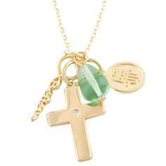 Fremada 14k Gold over Silver Cross Hansa Believe Simulated Spinel Necklace Women's
