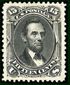 The US .15¢ black stamp of 1866 depicts Abraham Lincoln, and was the first stamp issued after his assassination in 1865, but it was not officially declared as a memorial to him | Commemorative stamp