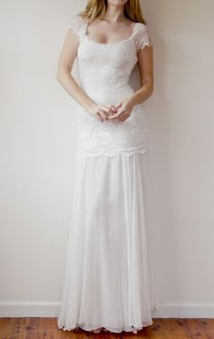 French lace Ivory wedding dress- love the simplicity of this one too