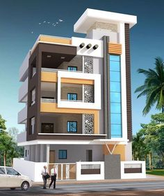 We offer Architectural building design Services for all your projects. Our team of Exterior Designers can provide you photo-immersive Exteriors that acts as an enabler during planning, designing and visualization of your projects. Modern Exterior House Designs, Narrow House Designs, Unique House Design, Exterior Design, Residential Building Plan, Home Building Design, 3d Building, 3 Storey House Design, Bungalow House Design