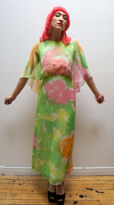 SPRING MUSE 1970's Sheer Chiffon Angel by magicphoenixvintage