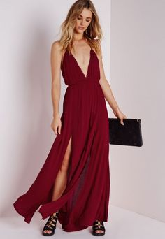 020aae80451b Cheesecloth Plunge Maxi Dress Wine -Dresses - Maxi Dresses - Missguided  King Dress, Maxi