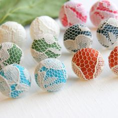 Fabric and Lace Button Stud Earrings