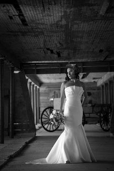 Black and White Bridal Portrait In Barn