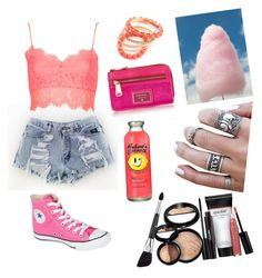 """Night at the fair"" by elizabethnutt ❤ liked on Polyvore featuring Topshop, Laura Geller, Converse, FOSSIL and Ruby Rocks"