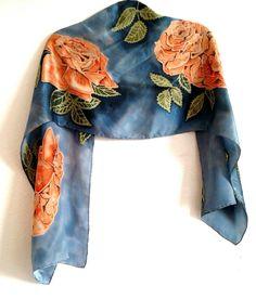 Peach Roses on satin silk, Painted Silk, Hand Painted, Silk Scarves, Up Hairstyles, Silk Satin, Natural Hair Styles, Roses, Peach, Hairdos