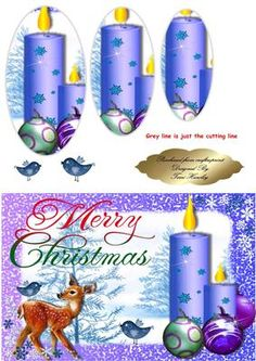 - This is a very easy card to make for Christmas time, and if you add glitter it looks great. Blue Christmas, Christmas Time, Christmas Cards, Xmas, Christmas Scenes Pictures, Christmas Decoupage, Art Work, 3 D, Card Making
