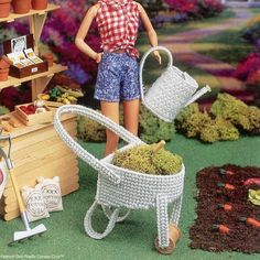 Gardening Set Water Watering Can & Wheel Barrow Barbie and Fashion Doll Plastic Canvas Patterns