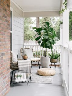 Front Porch Reveal with AllModern Modern Front Porches, Farmhouse Front Porches, Summer Front Porches, Summer Porch Decor, Front Porch Plants, Front Porch Design, Front Porch Landscape, Front Porch Garden, Concrete Front Porch