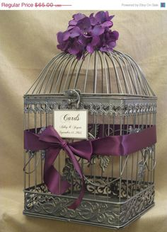 Use birdcage to collect wishes for baby@ shower ... Paint my white one silver