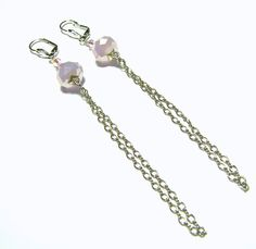 Long Pink Swarovski Silver Chain Earrings by LunaEssence on Etsy