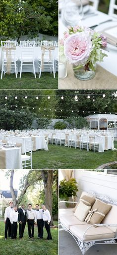 Backyard wedding table setup