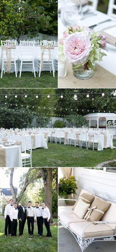 Backyard wedding table setup