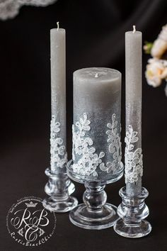 Wedding pillar candles sharkskin & white unity votive candle for bride and groom от RusticBeachChic