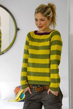 Smart striped blouse - Her World Knitting Designs, Knitting Patterns Free, Lace Knitting, Knit Crochet, Beginner Knit Scarf, Skirt Pattern Free, Free Pattern, Knitting Magazine, How To Purl Knit