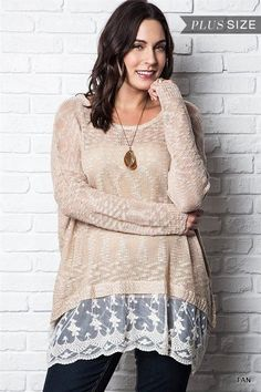 Umgee Plus Size Boho Southern Beige Lace Bottom Ruffle Tunic Blouse XL 1X 2X in Clothing, Shoes & Accessories | eBay