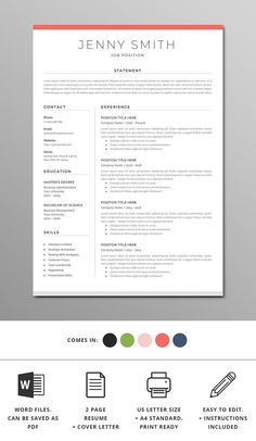 Standard Font Size For Resume Professional Resume Template Instant Download Resume Template .