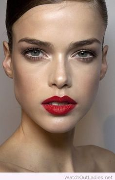 Red lips and white eye accent