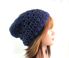 Gabrielle Blue Beanie  Slouchy Style  Deep Blue by Threadmill, $27.00