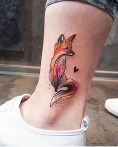 Sketch work fox tattoo on the ankle. Tattoo artist: Simona Blanar