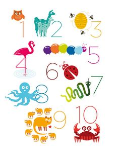 Animal Numbers Print 11 x 14 by theIrisandtheBee on Etsy, $20.00