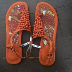 Tommy Hilfiger sandals Orange beaded Tommy Hilfiger sandals. Very lightly worn with few signs of wear Tommy Hilfiger Shoes Sandals