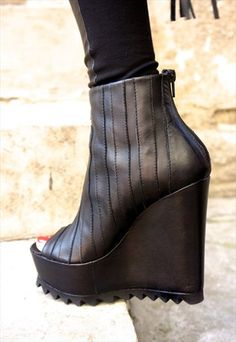 black leather wedges by aakasha boutique