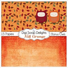 50% OFF TODAY Fall Grunge Digital Papers with by DigiScrapDelights