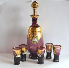 Vintage Liqueur Cordial Decanter Set Bohemian by ChristiesCurios