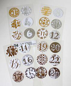 Sticker - Adventskalender Zahlen   - ein Designerstück von krealiebst bei DaWanda