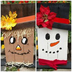 Reversible Snowman Scarecrow Reclaimed Recycled Renewed Wood Pallet Sign Art Unique! Gift! Fall Winter
