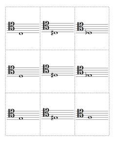 Flash cards for notes in tenor clef. Download the printable PDF files at http://musicflashcards.org/flashcards/notes/tenor-clef/