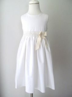 Vintage Flower Girl Dresses | White Flower Girl Dress with Vintage Lace and twill Bow - Beach Dress ...