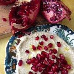 baba ghannouj garnished with pomegranate from alice's kitchen: traditional lebanese cooking: photo © linda dalal sawaya