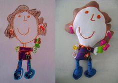 Soft toy based on the drawing of a 4 year old girl / Muñeco basado en dibujo de niña de 4 años