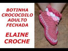 BOTINHA CROCODILO ADULTO FECHADA CROCHE - YouTube
