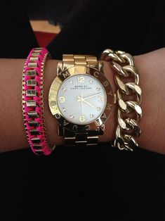 Michael Kors watch & neon pink bracelet