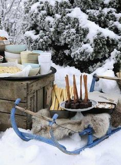 Winter decor and food ideas for having a delicious picnic in the snow!