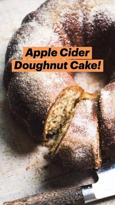 Donut Recipes, Apple Recipes, Fall Recipes, Baking Recipes, Apple Desserts, Just Desserts, Delicious Desserts, Dessert Recipes, Doughnut Cake