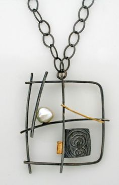"""""""Graffiti necklace"""" by artist Sydney Lynch ~ minimalist...but very interesting.  Made with oxidized sterling, 18k gold and pearl, on an18 inch chain. http://sydneylynch.com/designline/necklaces.html"""