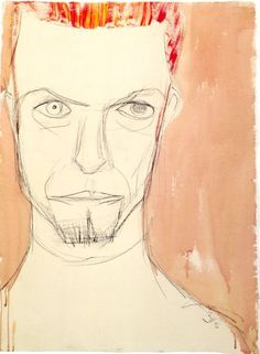 Self-portrait 3 by David Bowie. Charcoal, Pastel, Acrylic and Wash. About 77cm x…