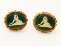"DANTE Museum Masterpiece ""Nude Lovers"" Green Incolay Cufflinks 1950s #Dante"