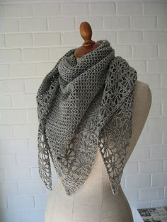 Gray shawl - with link to free pattern/chart