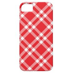Gingham red check pattern iPhone 5 cover