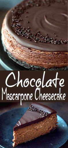 Chocolate Mascarpone Cheesecake Recipe – chocolate cookie crust, luscious dark chocolate mascarpone filling and rich chocolate ganache topping. Chocolate lover's heaven! Easy to make, but impressive dessert for any occasion. Banana Pudding Cheesecake, Chocolate Cheesecake Recipes, Chocolate Desserts, Cheesecake Squares, Pudding Cake, Chocolate Ganache Cake, Baked Cheesecake Recipe, No Bake Desserts, Just Desserts