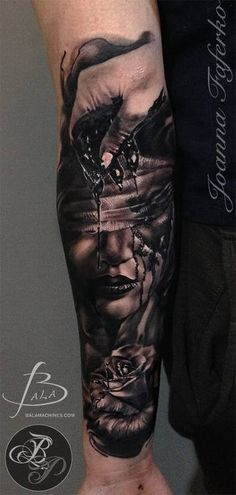 Black ink half sleeve tattoo of creepy bloody woman face with hand and rose